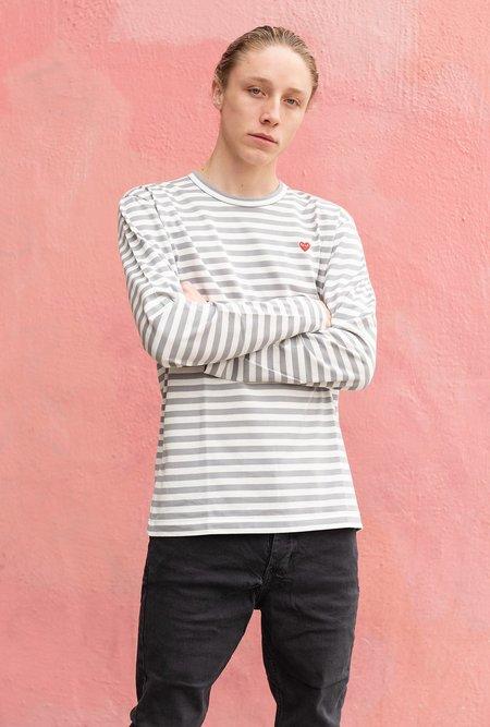 Comme des Garçons Play Striped T Shirt - Gray