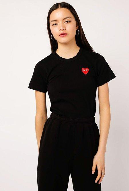 Comme des Garçons Red Small Heart Tee - BLACK