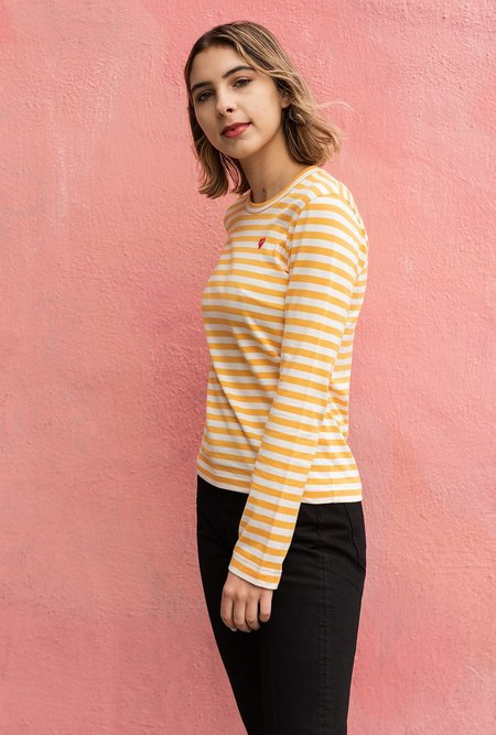 Comme des Garçons Play Striped Tee - Yellow / White