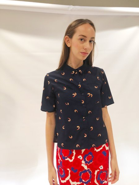 "One Imaginary Girl ""Shrimps"" Short Sleeve Blouse - Printed"