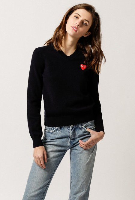 Comme des Garçons Play V-Neck Pullover Sweater - Navy