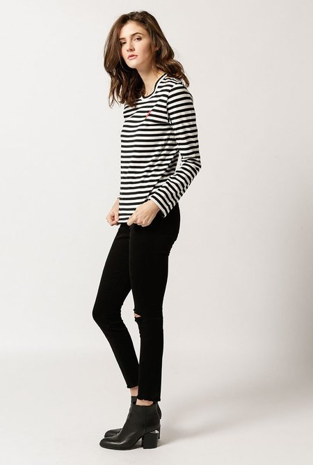 Comme des Garçons Striped long sleeve T-Shirt - Black / White
