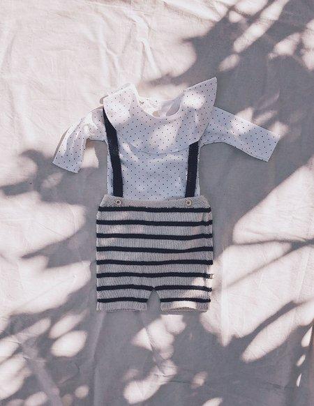 Kids Oeuf Organic Suspender Shorts - Navy Blue