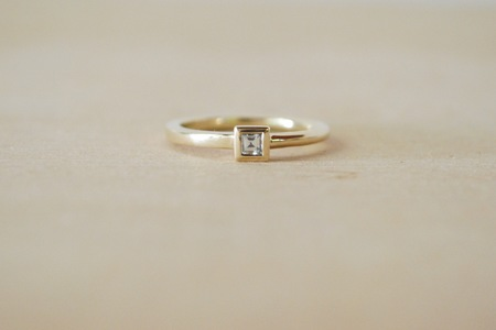 M. Hisae Ageku Princess Solitaire Ring - 14k Gold with White Diamond