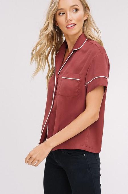 Listicle Sweet Dreams Piped Pajama Shirt - Brick