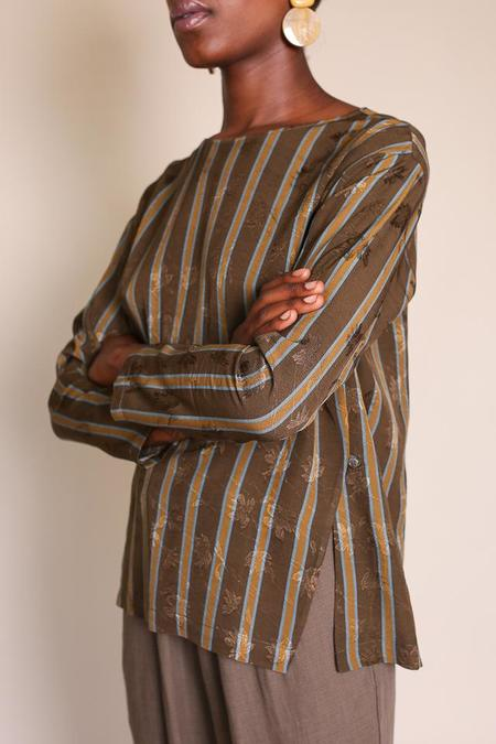 Pomandere Long Pullover Top - Green Stripe
