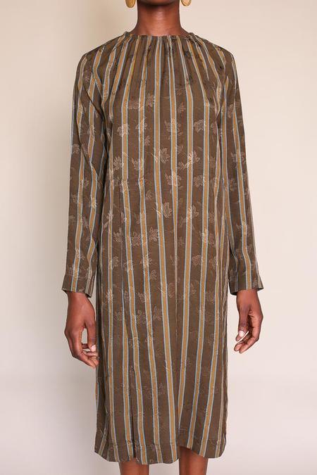 Pomandere Long Sleeve Dress - Green Stripe