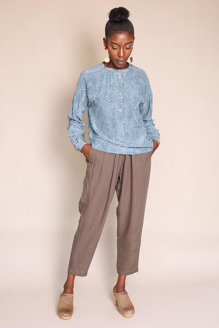 Pomandere Long Sleeve Henley - Blue Print