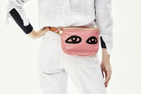 Clare V. Fanny Pack in Petal Italian Nappa W/Black Eye
