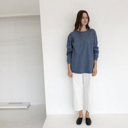 Johan Vintage Thick Cotton Long Sleeve T-Shirt - Dusty Blue