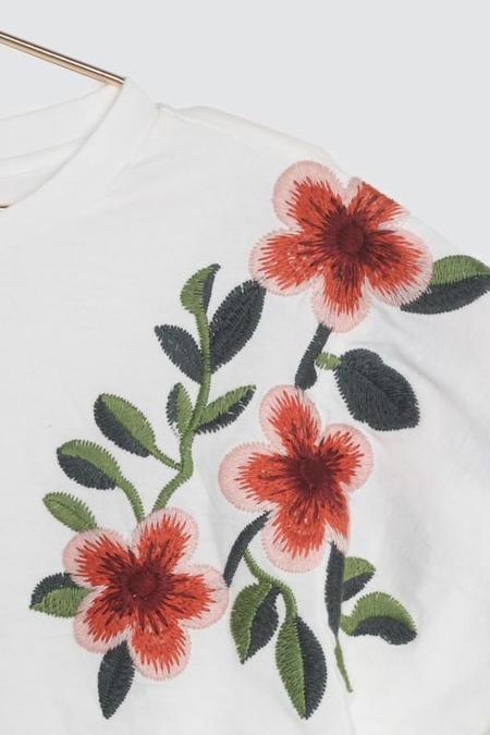 All Row Lola Embroidered Boxy Tee - Ivory