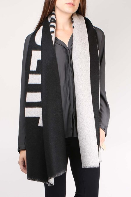 Alonpi Cashmere Visual Stole SCARF - Black/Grey