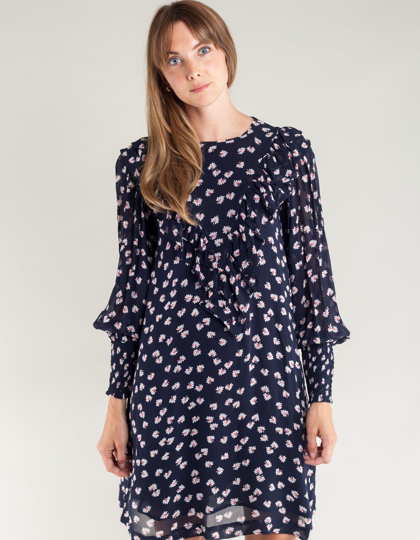 96735c466f7f Ganni Rometty Georgette Mini Dress - Total Eclipse | Garmentory