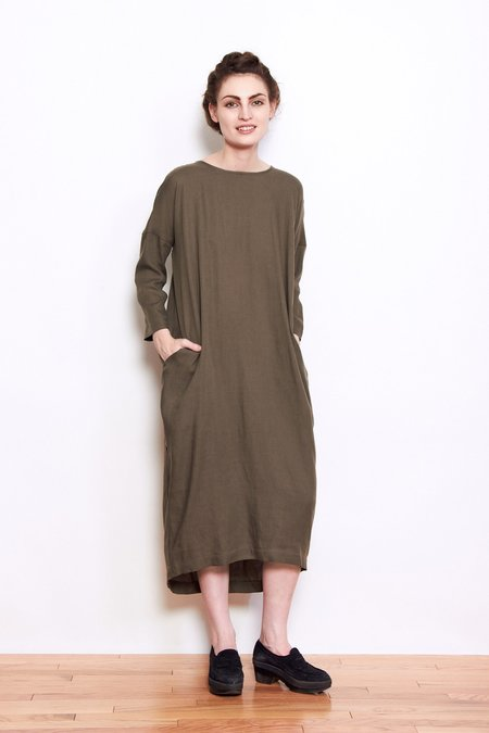 Black Crane Pleated Cocoon Dress - Sand