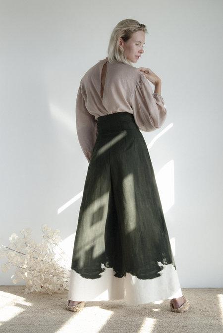 KM By Lange Wide leg Brush Trousers - Dark Green