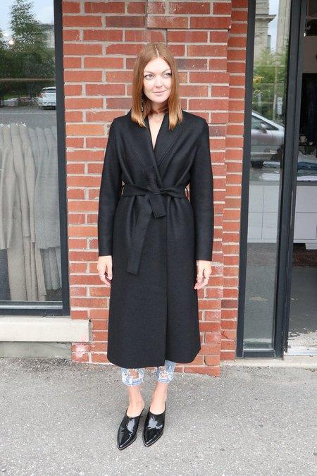 Harris Wharf Pressed Wool Robe Coat - Black