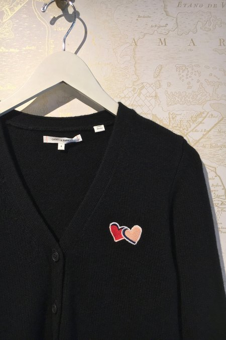 Chinti and Parker Heart Logo Elbow Patch Cardigan