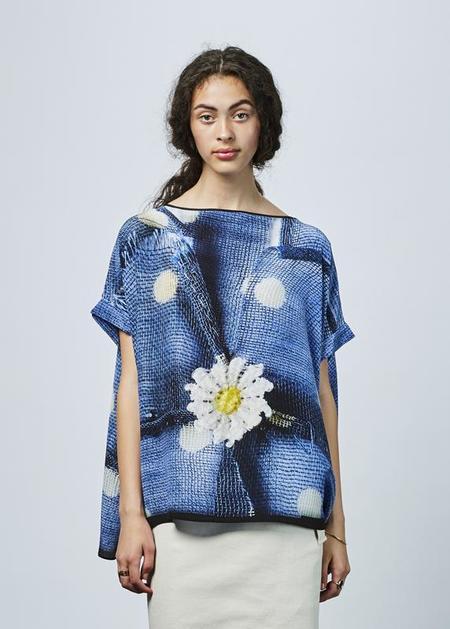 Antoni + Alison Daisy and Dot Silk Top - Blue Daisy Print