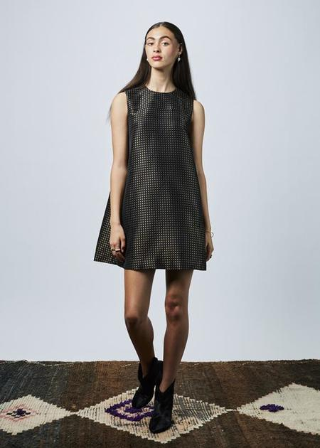 Hache Sleeveless Mini Blossom Dress - Black/Gold