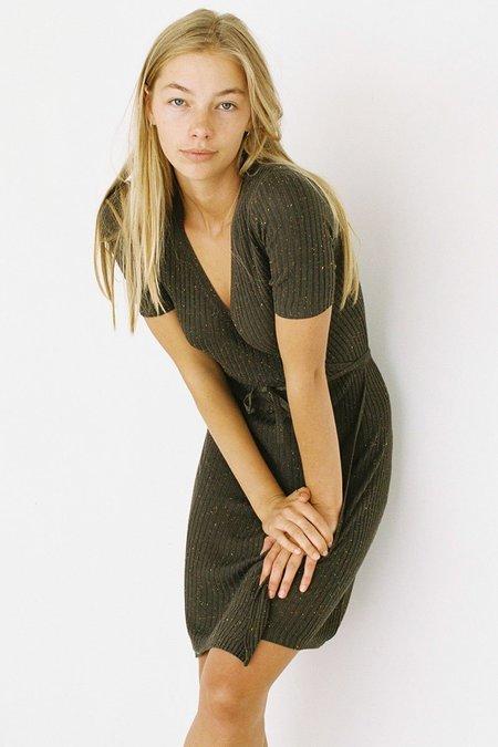 Lonely Wrap Fleck Mini Dress - Olive