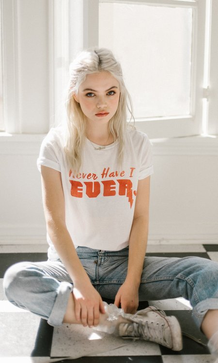"Not Another Label ""Never Have I Ever"" Graphic Tee - White"