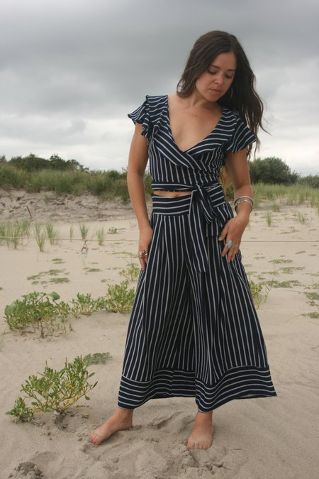 MISA | Nikola Wide Leg Pant - Black/White Stripe