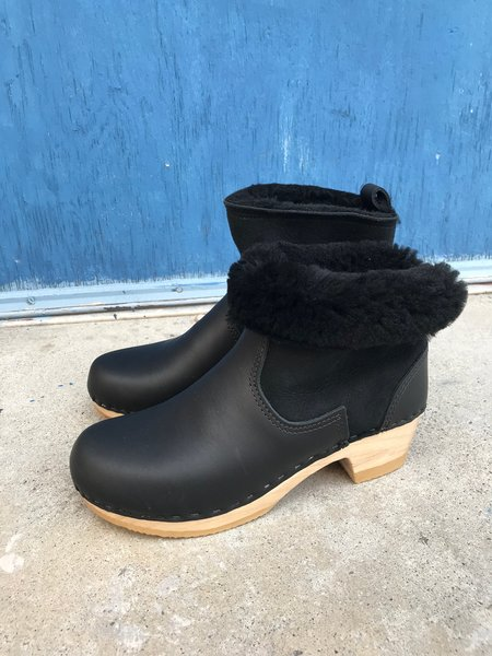 No.6 Mid Heel Shearling Clog Boot - Black Suede