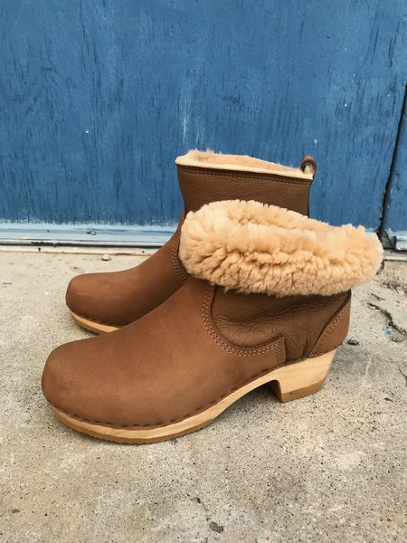 No.6 Mid Heel Shearling Clog Boot - Honey Aviator