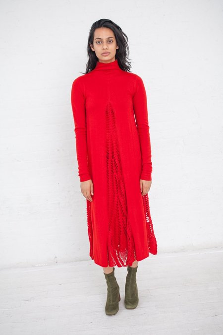 Ryan Roche Midi Dress with Crochet Inserts - Red