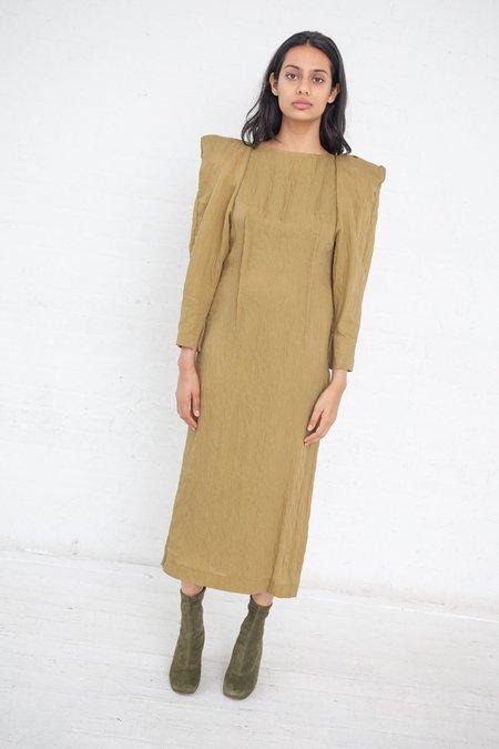 Rito Power Shoulder Dress - Mustard