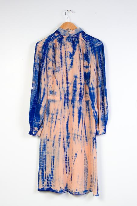 Bhoomki Swapna Shibori Silk Dress - Pink/Blue
