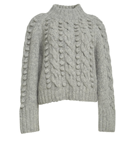 ELEVEN SIX ADELIA CROP SWEATER - Pale Melange Grey