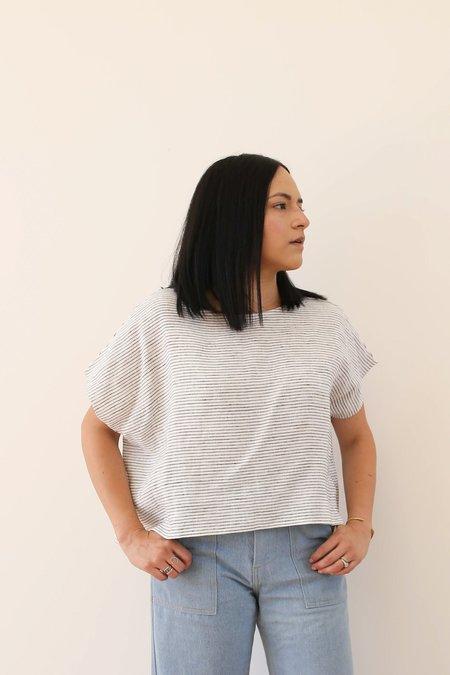 OffOn Clothing Linen Kimono Sleeve Top - Black/White Stripe