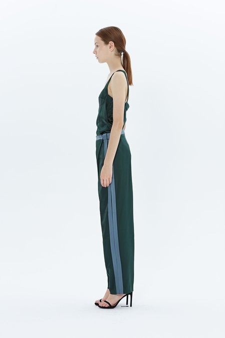 Dion Lee Latered Silk Satin Top - Green