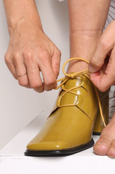 """""""Intentionally __________."""" Sung Oxford - Mustard Patent"""