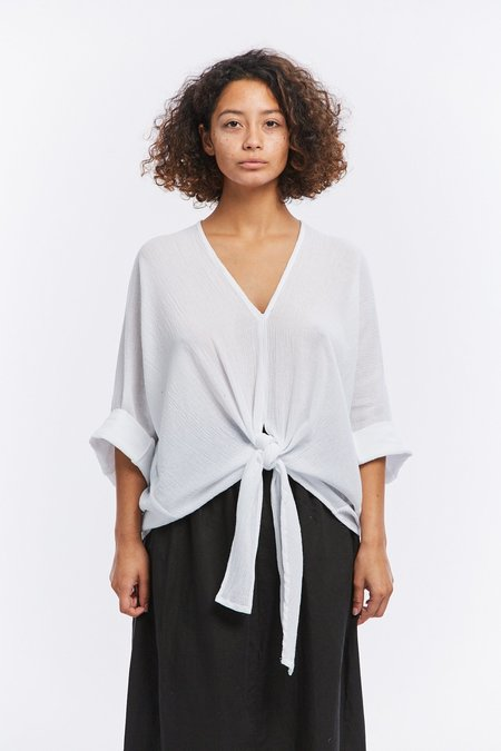 Miranda Bennett Kahlo Cotton Gauze Top - White