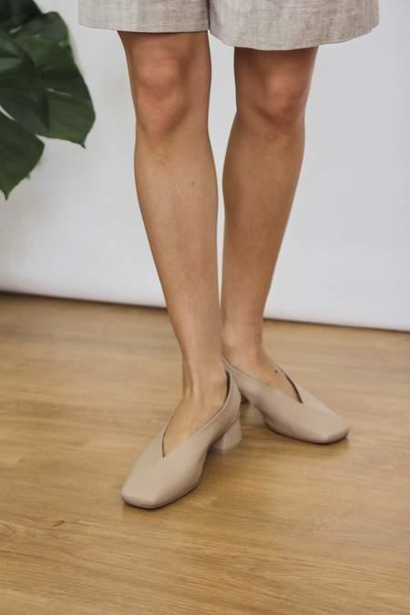 Jung Yeon Simone Square Toe Leather Slingback - Nude