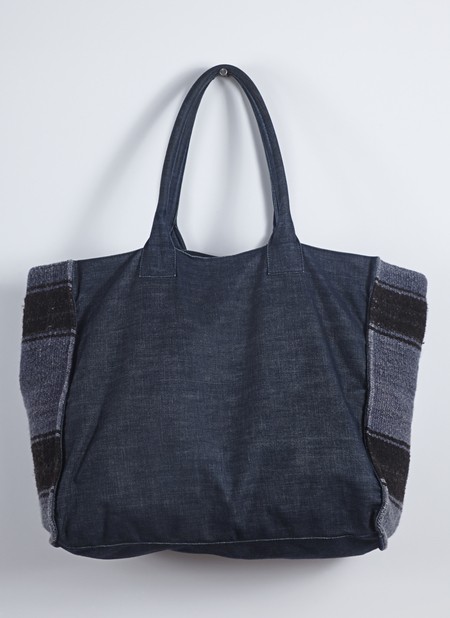 GREI. Washed Canvas Tote With Blanket Detail - Midnight Denim