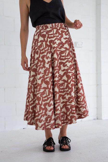 Lois Hazel Brick Tie Circle Skirt - Brick