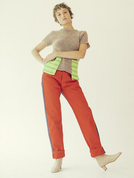 Bless Vintage Pleat Front Jeans - Red/Blue