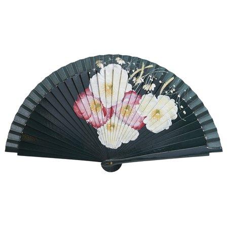 FERN FANS Beach Rose Floral Fan