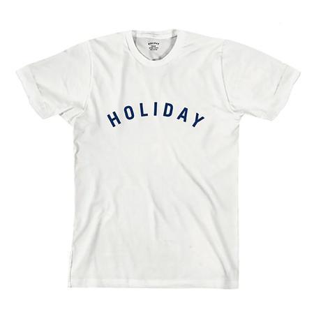 UNISEX Holiday Blue Logo T Shirt - WHITE