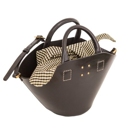 Trademark Small Leather Basket with Gingham Insert - BLACK