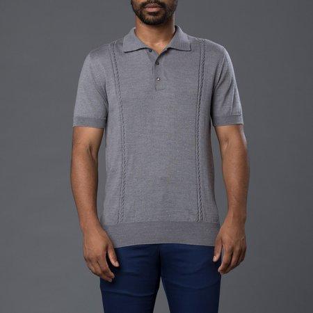 David Hart Cable Knit Polo - Grey