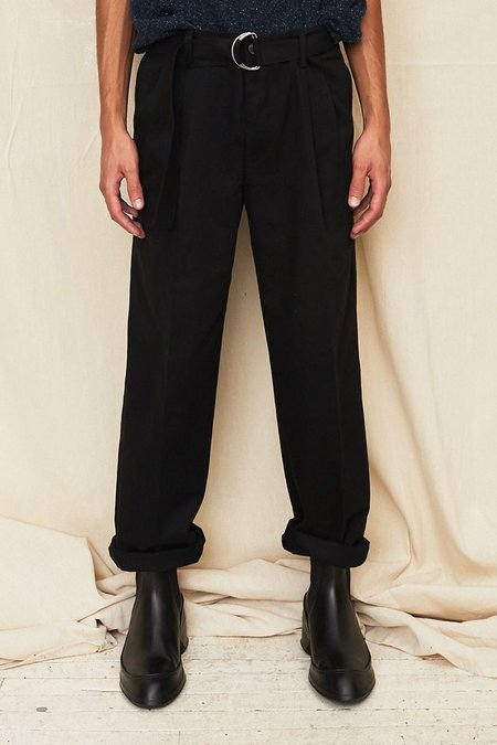 Assembly New York Cotton Pleat Pant with D-Ring Belt - Black