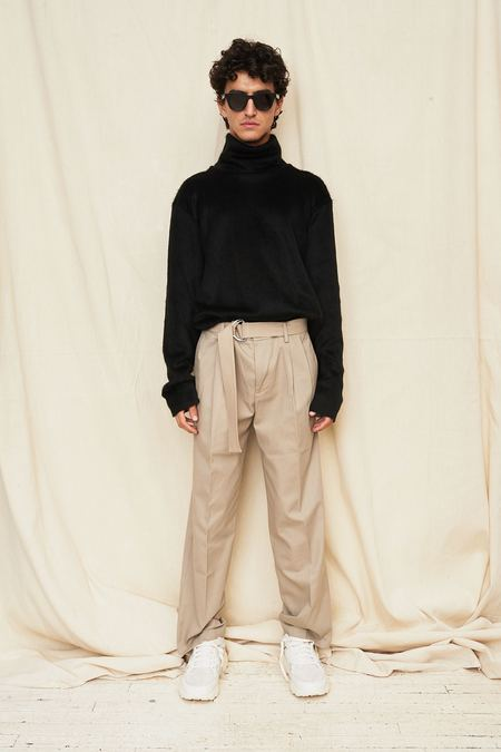 Assembly New York Pleat Pant with D-Ring Belt - Khaki
