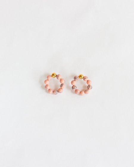 Mirit Weinstock Marble Bead Hoop Earrings - Gold/Pink