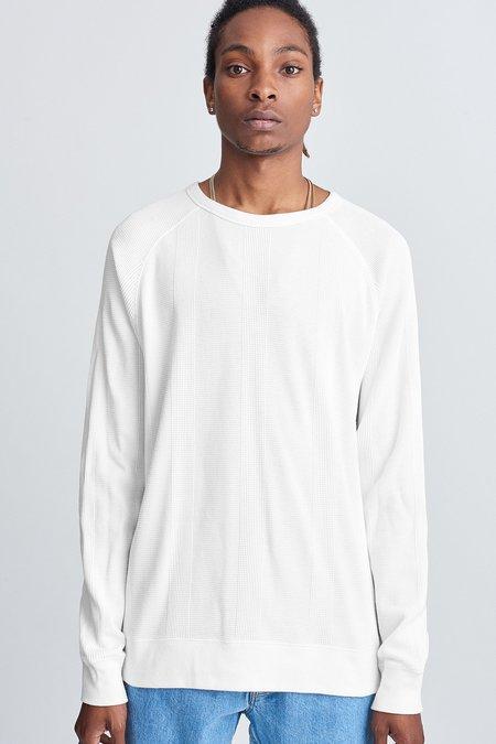 Saturdays Surf NYC Kasu Waffle Stripe Long Sleeve Shirt - White