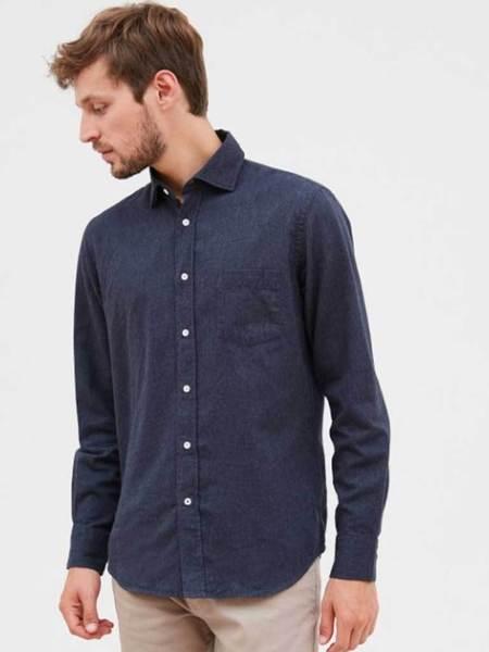 Hartford Paul Pin Point Shirt - Navy