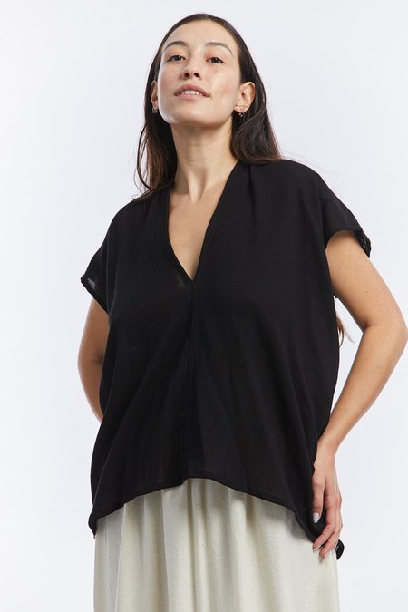 Miranda Bennett Cotton Gauze Everyday Top - Black